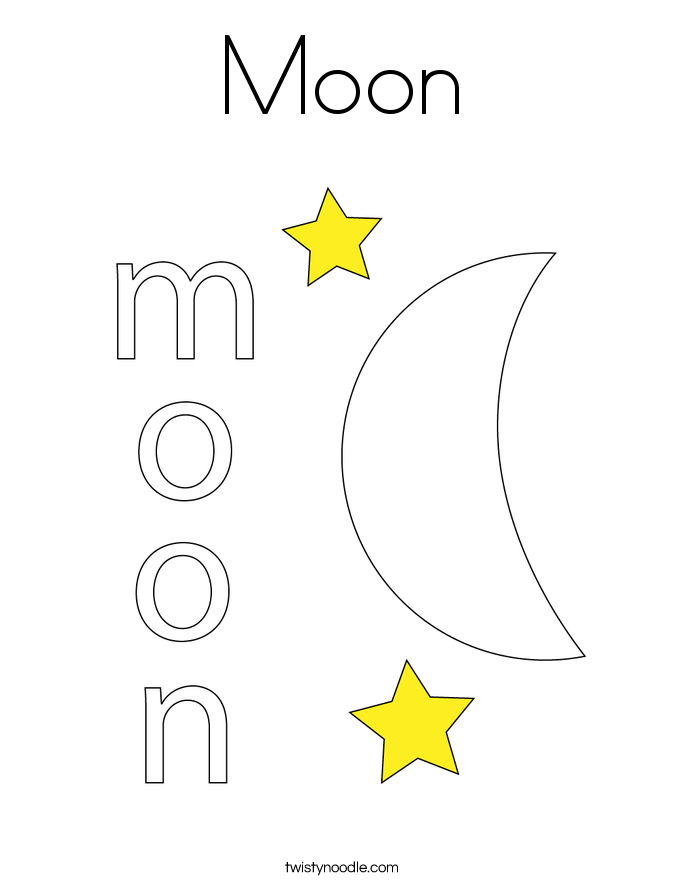 Moon Coloring Page Twisty Noodle