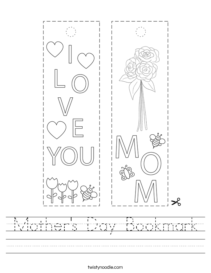 Mother's Day Bookmark Worksheet