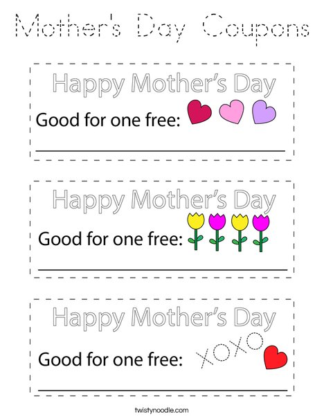 Mother's Day Coupons Coloring Page