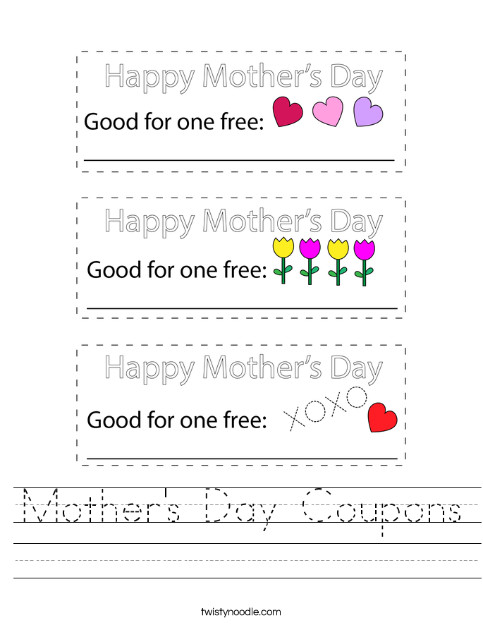 Mother's Day Coupons Worksheet