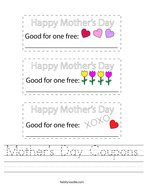 Mother's Day Coupons Handwriting Sheet