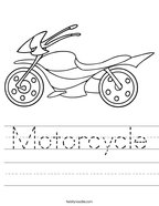 Motorcycle Handwriting Sheet