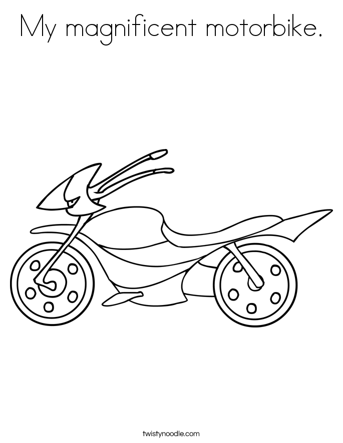 My magnificent motorbike. Coloring Page