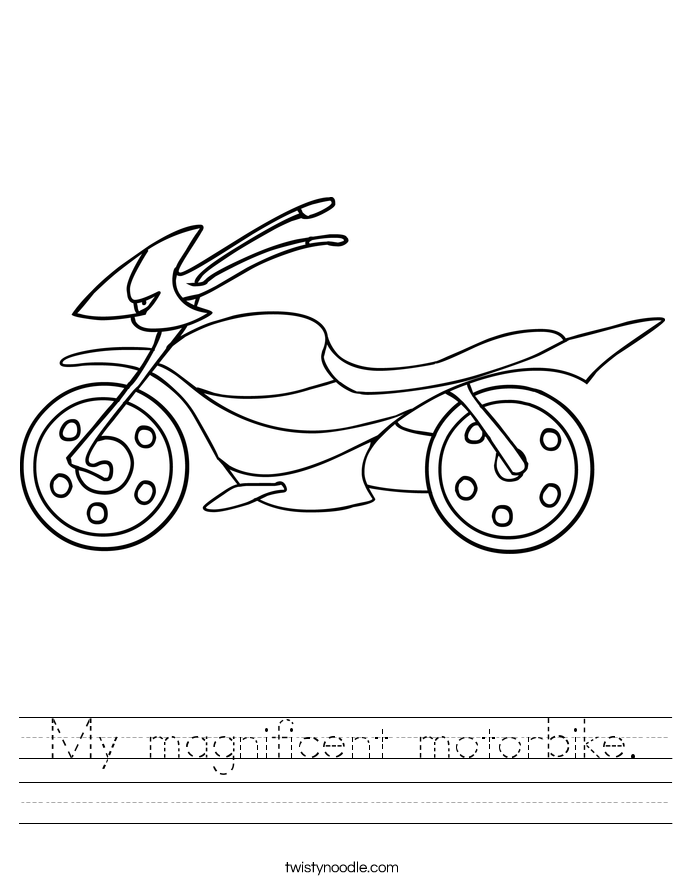My magnificent motorbike. Worksheet