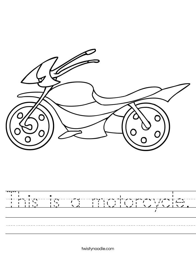 This is a motorcycle. Worksheet