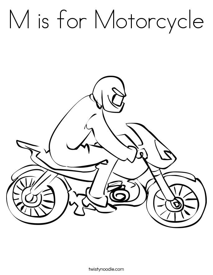 M is for Motorcycle Coloring Page