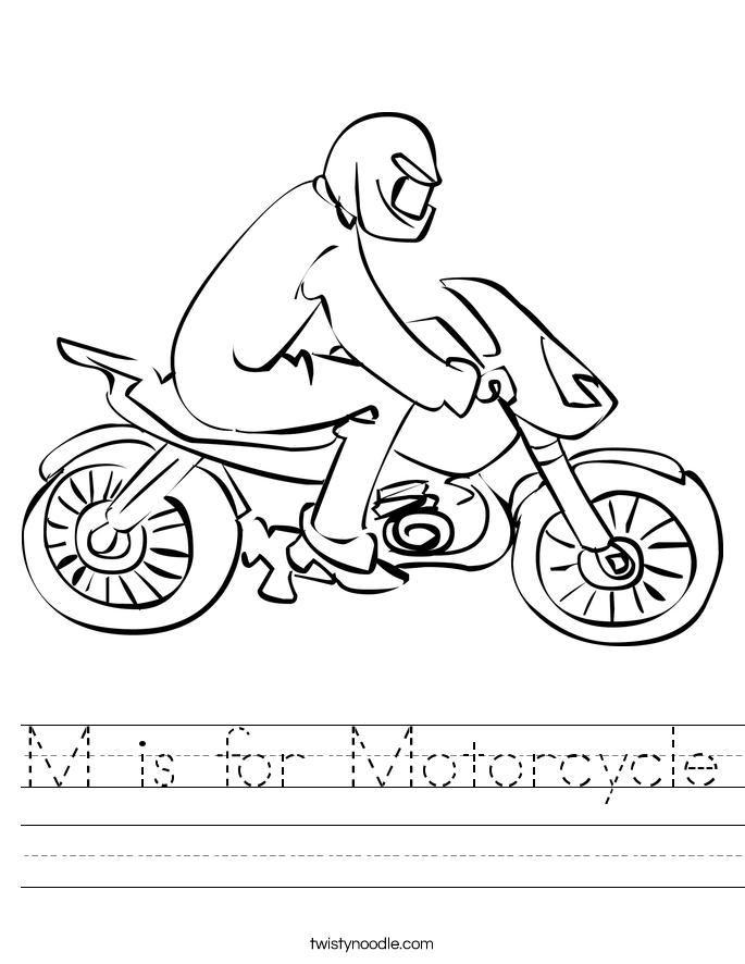 M is for Motorcycle Worksheet
