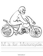 M is for Motorcycle Handwriting Sheet