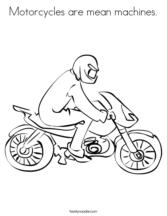 Motorcycles are mean machines. Coloring Page