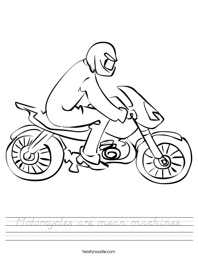 Motorcycles are mean machines. Worksheet