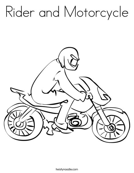 Motorcycle with Driver Coloring Page