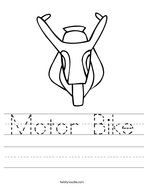Motor Bike Handwriting Sheet