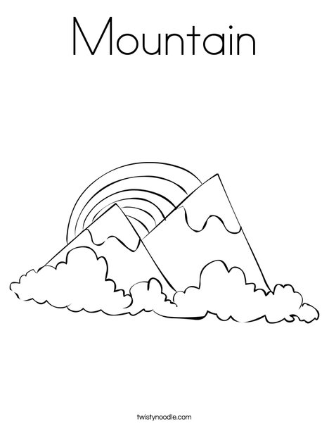 mountains with a rainbow coloring page - Mountain Coloring Page