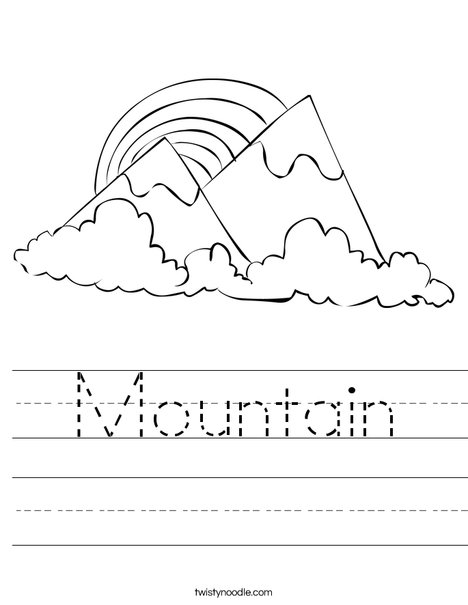 Mountains with a Rainbow Worksheet
