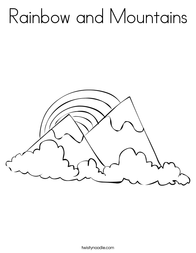 Rainbow and Mountains Coloring Page