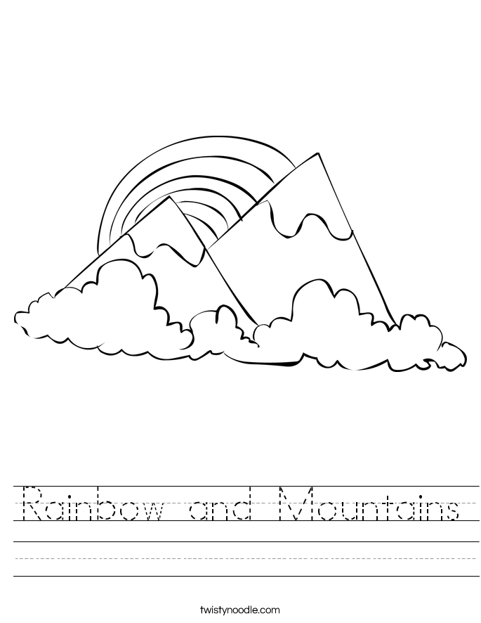 Rainbow and Mountains Worksheet