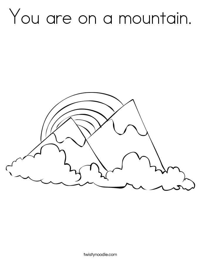 You are on a mountain. Coloring Page