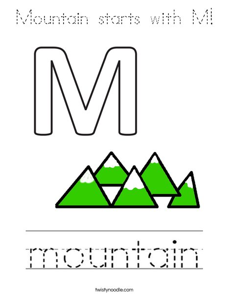 Mountain starts with M! Coloring Page