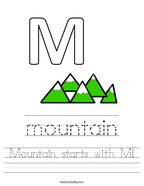 Mountain starts with M Handwriting Sheet
