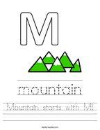 Mountain starts with M Handwriting Sheet