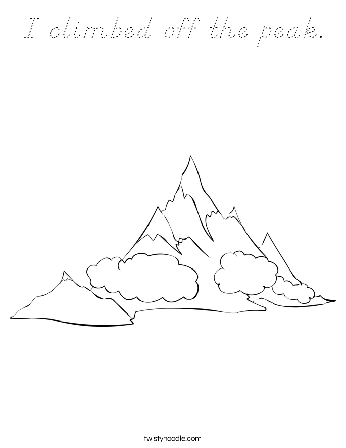 I climbed off the peak. Coloring Page