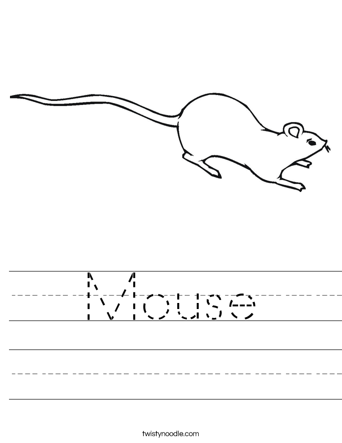 Mouse Worksheet Twisty Noodle