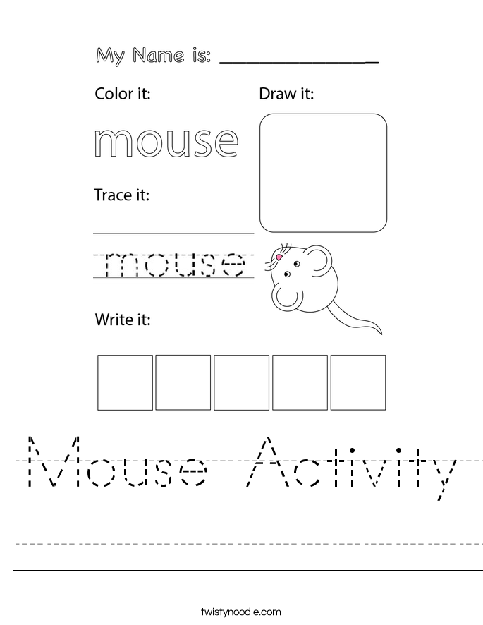 Mouse Activity Worksheet