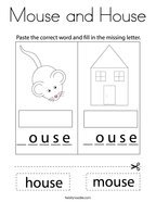 Mouse and House Coloring Page