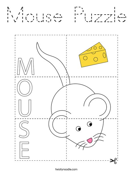 Mouse Puzzle Coloring Page