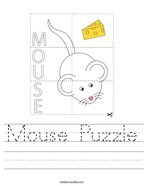Mouse Puzzle Handwriting Sheet