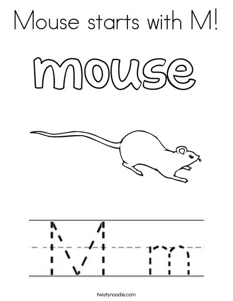 Mouse starts with M Coloring Page