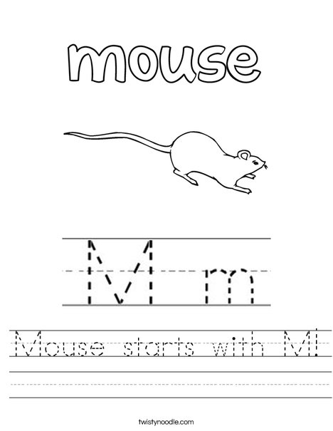 Mouse starts with M Worksheet