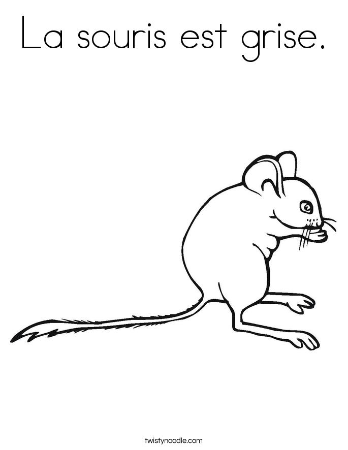 La souris est grise. Coloring Page