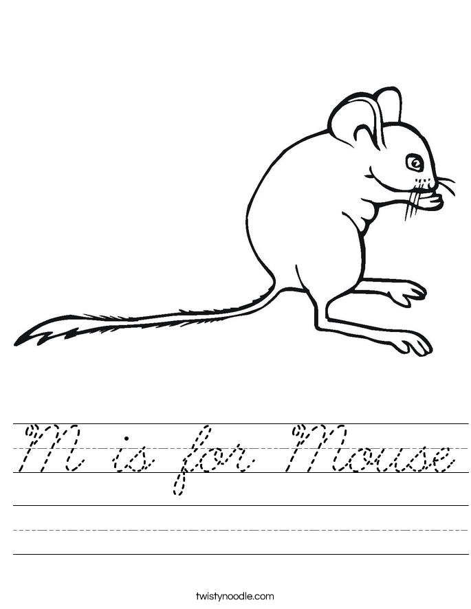 is for Mouse Worksheet - Cursive - Twisty Noodle