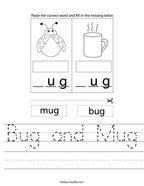 Bug and Mug Handwriting Sheet