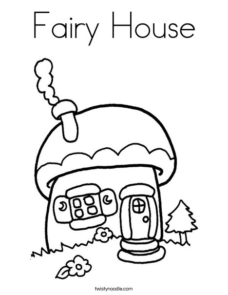 Mushroom Cottage Coloring Page