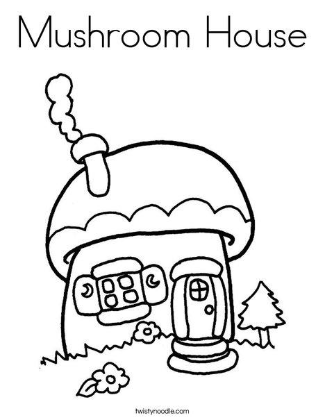 Mushroom Cottage Coloring Page