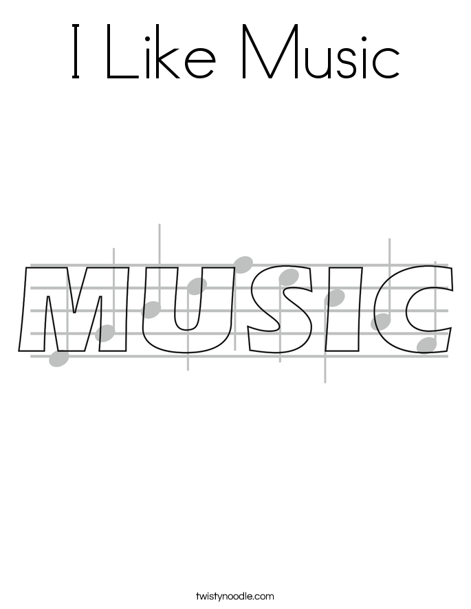 I Like Music Coloring Page