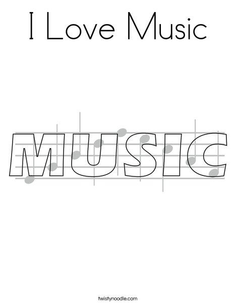Music Coloring Pages Pdf : I love music coloring page twisty noodle