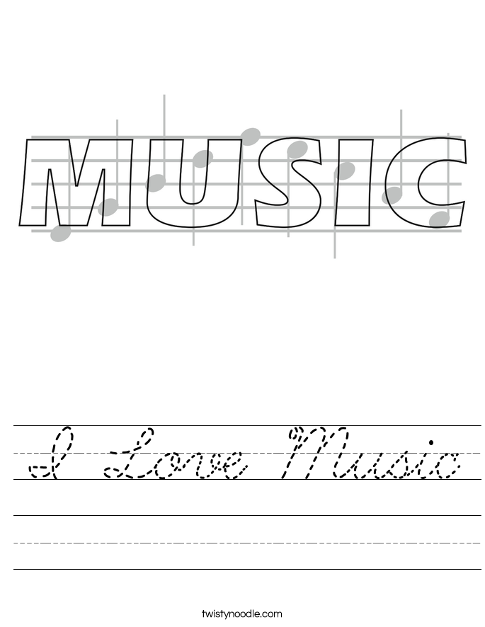 I Love Music Worksheet