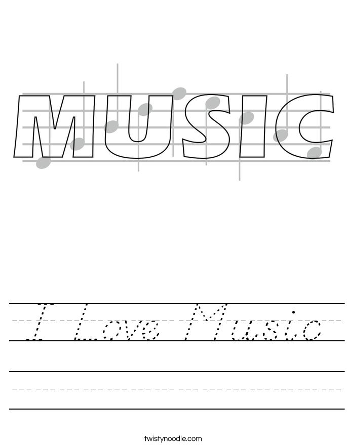 I Love Music Worksheet