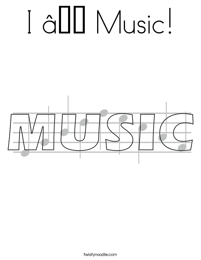 I ♥ Music! Coloring Page