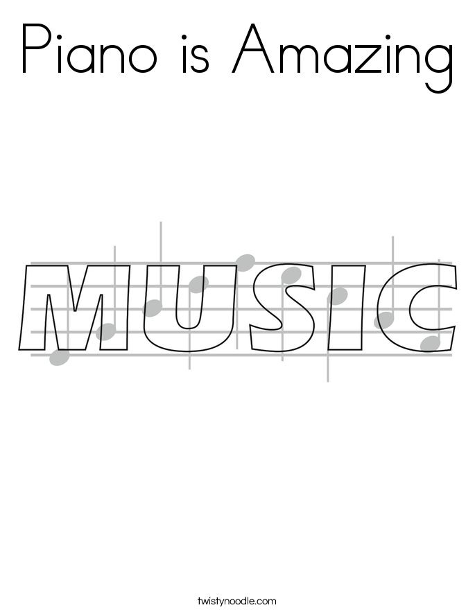 Piano is Amazing Coloring Page