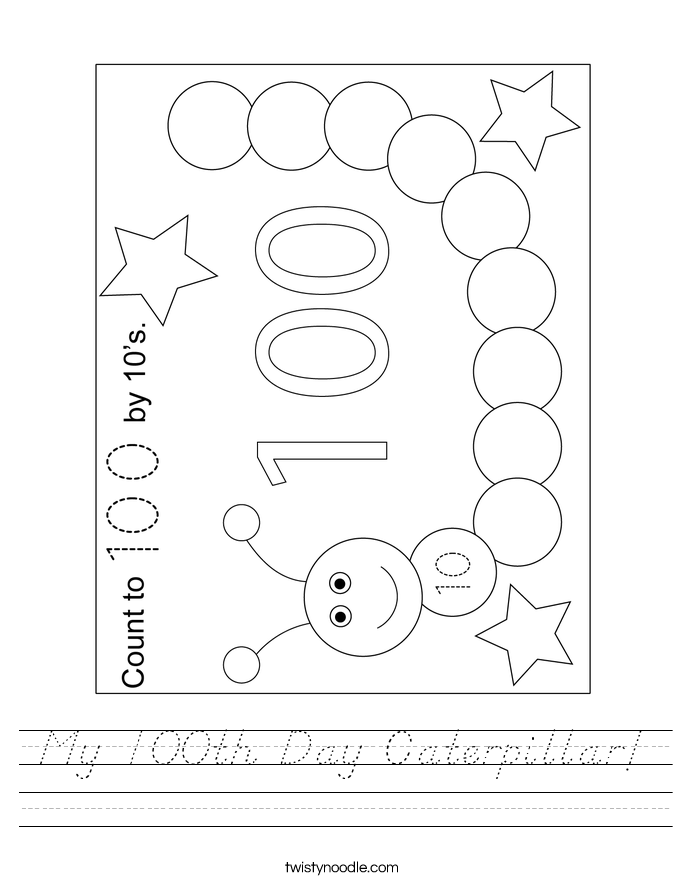 My 100th Day Caterpillar! Worksheet