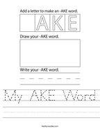 My AKE Word Handwriting Sheet