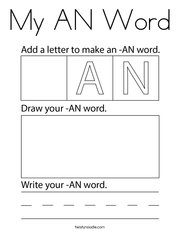 My AN Word Coloring Page