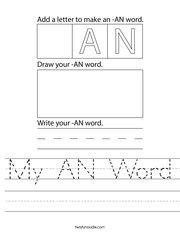 My AN Word Handwriting Sheet