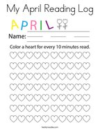 My April Reading Log Coloring Page