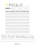 My April Reading Log Worksheet