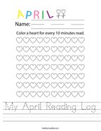 My April Reading Log Handwriting Sheet